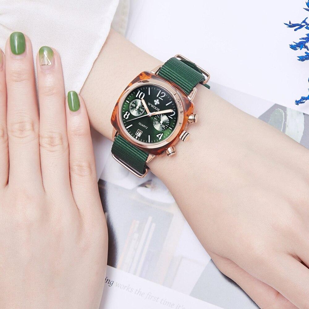 Image 5 - WWOOR Luxury Women Watches Waterproof Business green Nylon Ladies Quartz Relogio Feminino Milan Mesh Band Lady Watch Chronograph-in Women's Watches from Watches