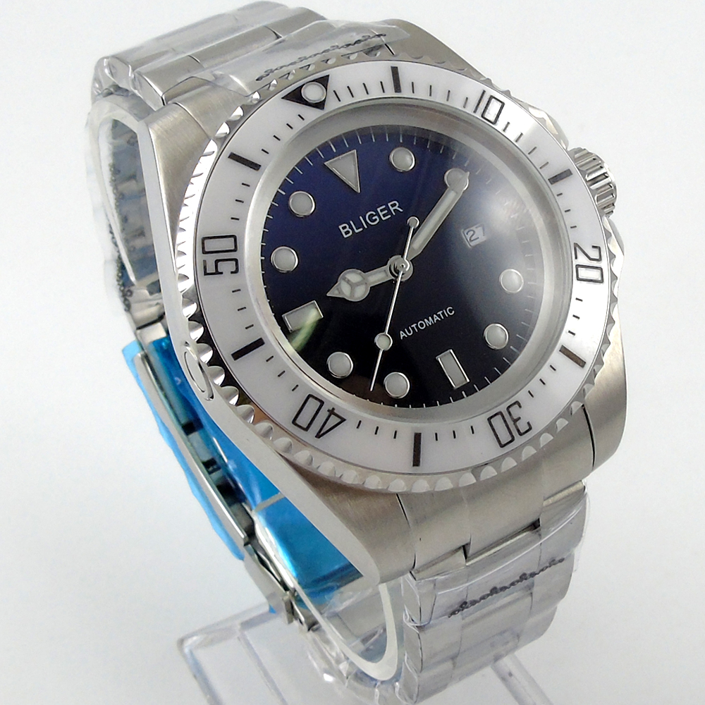 Bliger 44mm blue Sterile dial  white Ceramic Bezel automatic mens watch atlantic 68551 41 22