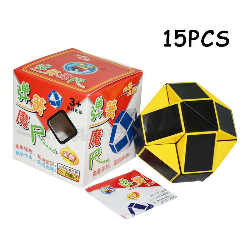 Selfless 15pcs Shengshou Yellow Black 24 Sections Cubo Magico Snake Ruler Magic Cube Speed Twist Puzzle Toys For Children Anti Stress Toy Magic Cubes