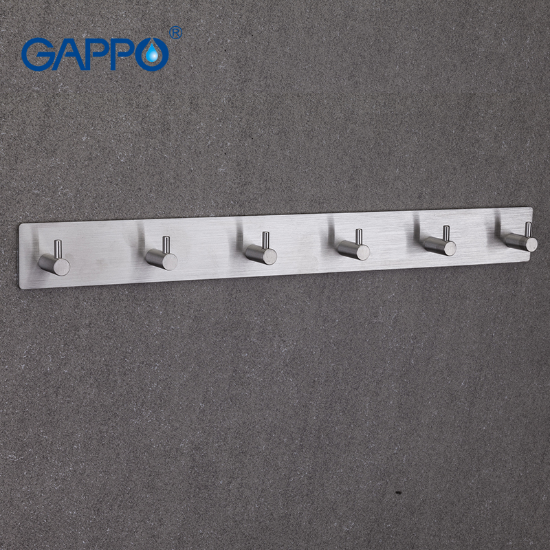 GAPPO Robe Hooks 6 clothes hook stainless steel Hooks Wall mount Coat Hat hanger Tower Holder xueqin stainless steel 4 hooks coat hat clothes robe holder bathroom rack hooks wall hanger wall mounted bathroom accessories