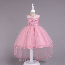 CAILENI 2019 New Flower Girl Wedding Trailing Dress Kids Lace Princess Pink Ceremony Birthday Party Frock For 2-14 Years