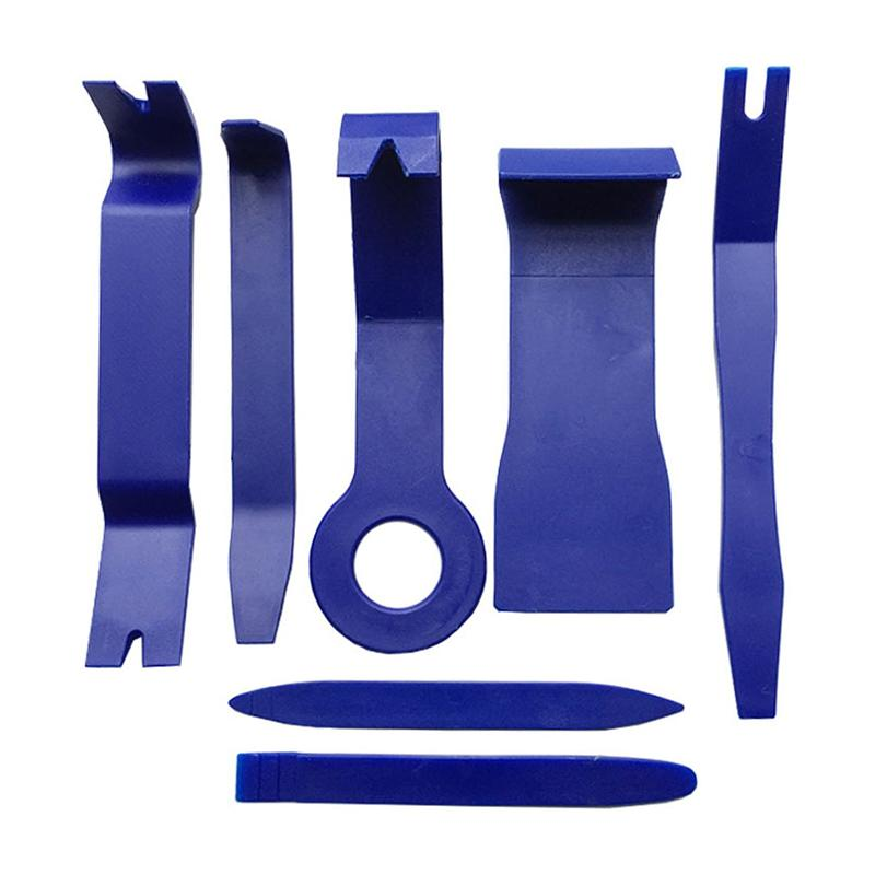 7 Pcs Auto Car Trim Door Panel CD Speaker Removal Tool Kit Removal Molding Panel Trim Dashboard Removal Opening Tool Set (Blue)