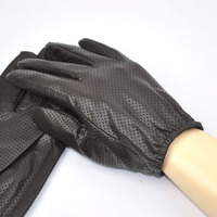 Brown Men's Smart Touch Screen Genuine Leather Thin Texting Driving Gloves Net Surface