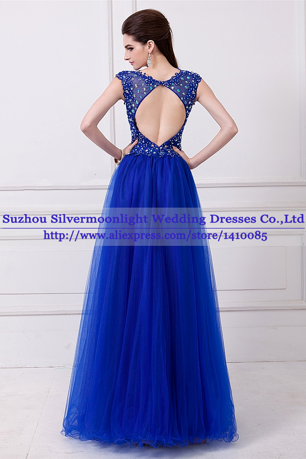 197c89bd520 Vestidos De Baile Sexy Cap Sleeve Open Back Royal Blue Lace Prom Dress 2014  New Arrival Party Gown Special Occasion Dresses-in Prom Dresses from  Weddings ...