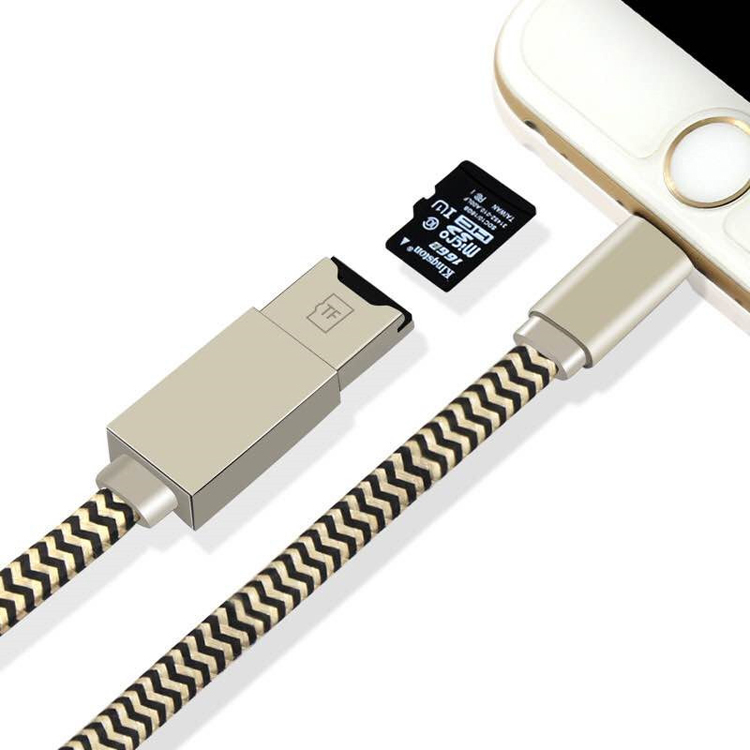 NEW USB cord Data charge Cable Reader 2in1 Adapter For Micro SD TF Card for iPhone