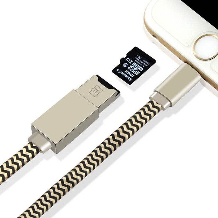 imágenes para NUEVO USB cable de Datos Cable de carga Adaptador 2in1 Lector De Micro SD TF la tarjeta para el iphone 5 6 6 S 7 plus Para el mini Aire ipad Pro equipo