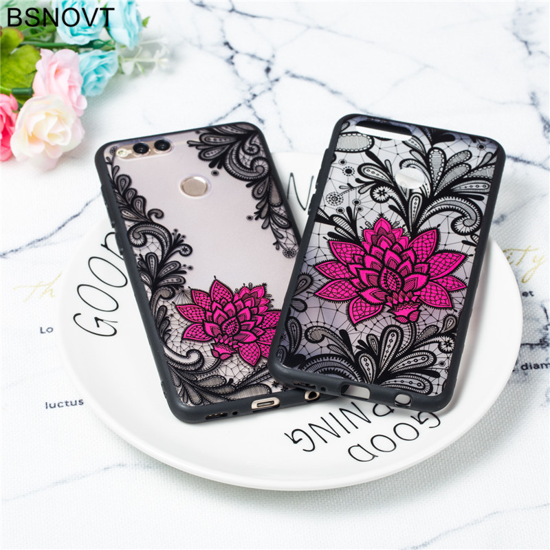 For Huawei Honor 7x Case TPU +PC Lace Rose Cute Flower Anti-knock Cover BSNOVT