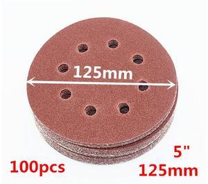 """Image 2 - NEWONE 100pcs/set 125mm 5 """"/5 zoll Schleifen Discs 8 Löcher Schleifpapier Pads Set 40#60#80# 100 #120 #150 #180 #240 #320 #400 und mehr größen"""