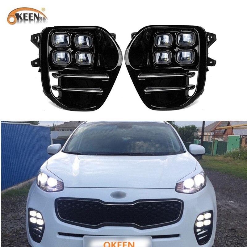 OKEEN 2 pc Wasserdicht 12 V Auto DRL für Kia Sportage KX5 2016 2017 2018 2019 LED Tagfahrlicht weiß Tageslicht Kopf Nebel Lampe