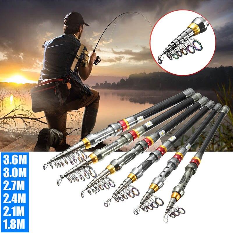 Portable Carbon Fiber Ultralight Travel Telescopic Fishing Rod Spinning Pole New