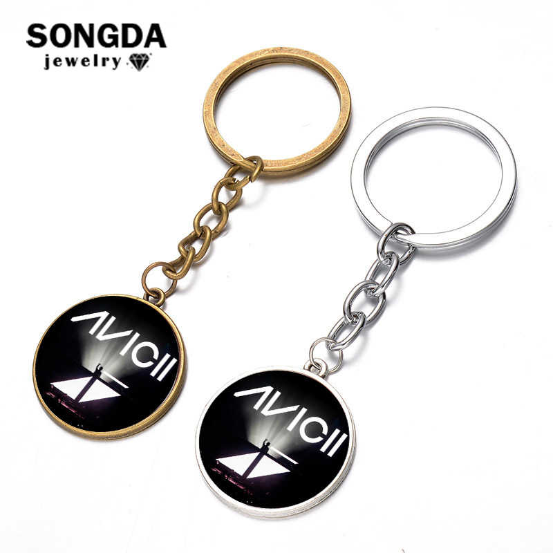 SONGDA DJ Avicii Keychain Minimalism Avicii 3D Print Logo Glass Dome Key Ring Punk Black Charm Keyring Porte Clef for Music Fans