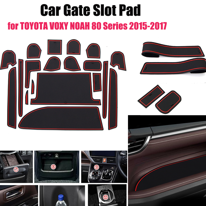19pcs Non-slip Gate Slot Cup Pad Door Interior Decoration Mat Car-styling For TOYOTA VOXY NOAH 80 Series 2015-2017 Car Styling