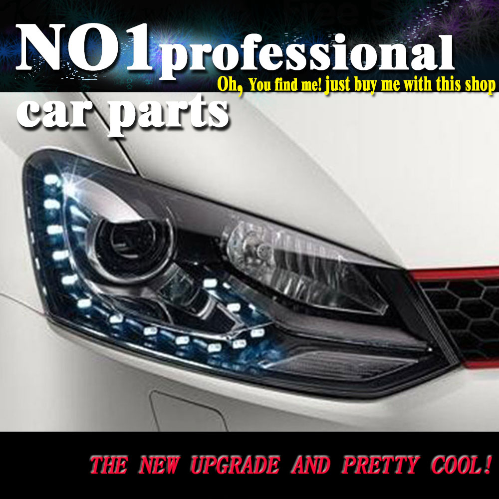 Car Styling 2009-2015 For Vw POLO headlights led  head lamp DRL front Bi-Xenon Lens Double Beam HID KIT