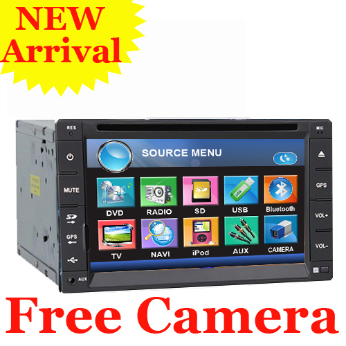 """Free Rear Camera 6.2"""" HD  LCD Double Din GPS Car DVD Player Stereo Radio head Deck GPS Navigation Bluetooth In Dash TV Free MAP"""