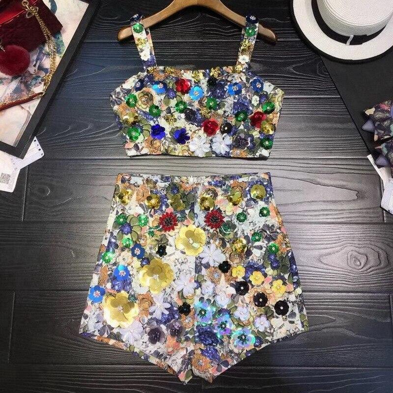 Imprimer De Rue Luxe Haute ligne D'été 2 Court Pièce Crop Beading Perles Printed Pantalon Printemps Et Set Top Appliques Rg A Tenues Femmes 7Oxqwd7