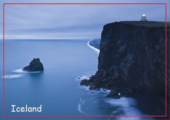 Viagens Geladeira Ímãs 78*54mm, Farol em Dyrholaey, islândia