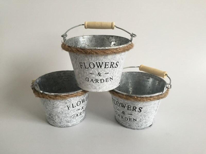10pcslot d10xh8cm wholesale metal planter round iron buckets succulent pots tin pails with rope