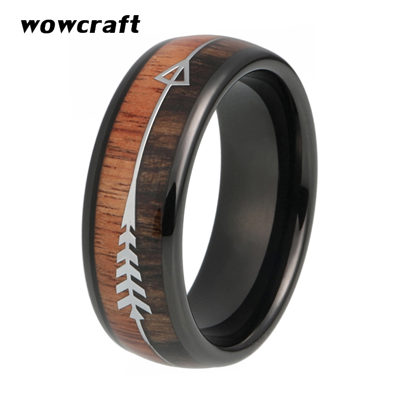 6mm 8mm Black Tungsten Carbide Wedding Bands for Women Men Arrow Ring Nature Wood Inlay Comfort Fit Engagement Rings Wedding in Wedding Bands from Jewelry Accessories