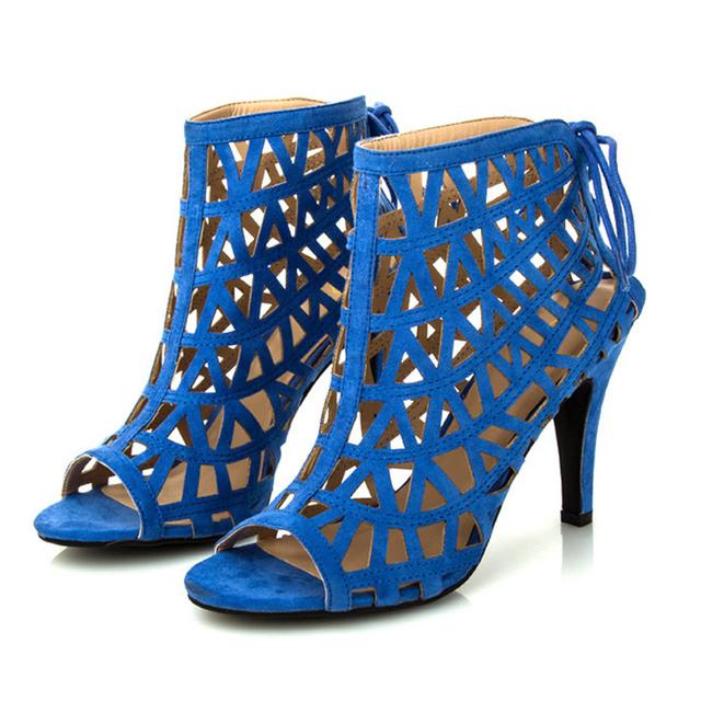 Fashion high heels blue gladiator sandals women fretwork summer shoes woman