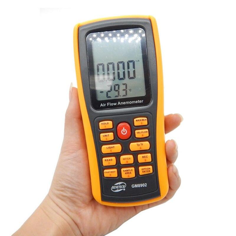 GM8902 Air velocity temperature Anemometer handheld LCD Digital 45m/s Wind Speed Meter Measuring Instruments USB interface  цены