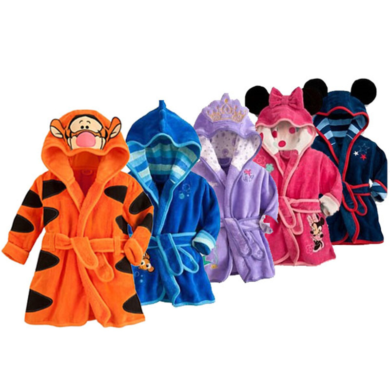 Bebek Bornoz Karikatür Flanel Mickey Minnie Çocuk Bornoz Bebek Ev Tekstili Boys Kız Kapüşonlu Bornoz Giyim peignoir enfant