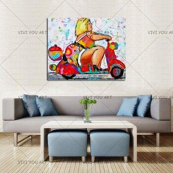 Arte De Lienzo único | 2018 Nueva Llegada De La Mujer Gorda En Una Motocicleta Arte De La Pared, Decoración Para El Hogar Para Habitación Regalo único De La Pintura De Aceite