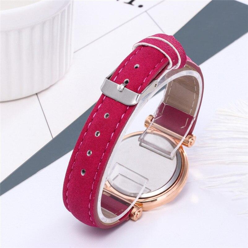 Fashion Women Leather Casual Watch Luxury Analog Quartz Crystal Wristwatch Fashion Casual Female Wristwatch Luxury 2019 Dress#A