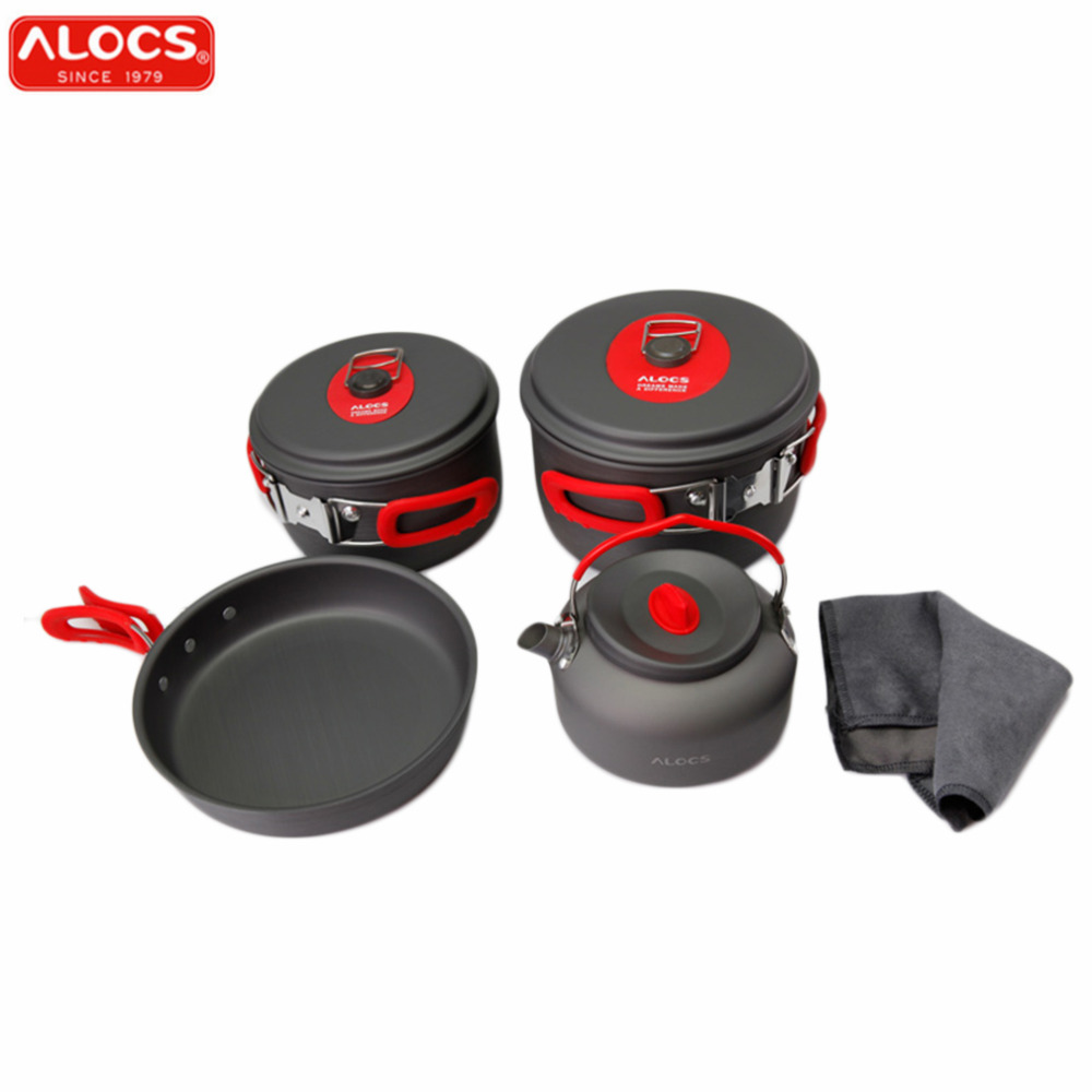 цены ALOCS 7set Portable Ultralight Aluminum Outdoor Camping Hiking Cookware Cooking Picnic Pan Pot Teapot Dishcloth 4 People New