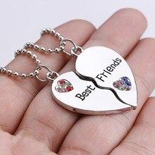 2PCs/Set Fashion Half Heart Rhinestone BEST FRIENDS Pendant Long Necklace Jewelry Women Girl Friends
