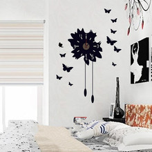 LM228 PINK BLACK 3D BUTTERFLY WALL CLOCK - STICKER DECAL WITH SWEEP MOTION