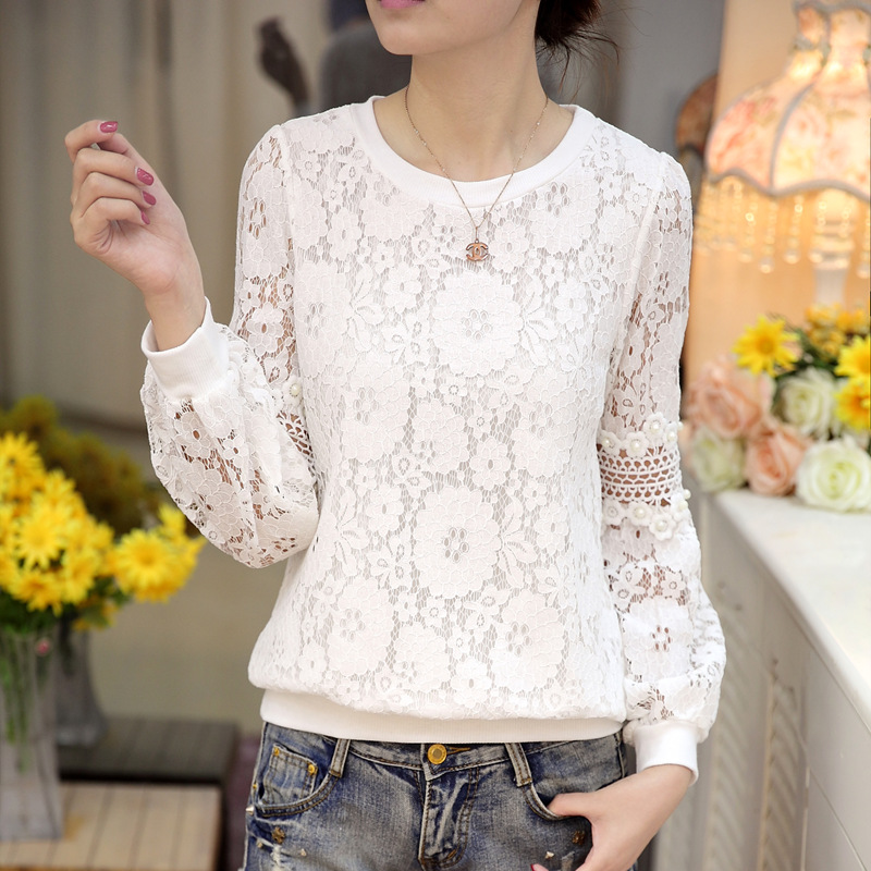 2018 spring Blusa Beaded lace tops Crochet Lace Blouse Patchwork Hollow out Long sleeve Chiffon Women shirt clothing 668C3