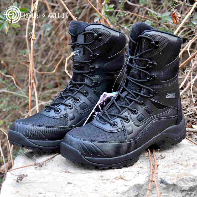 Men Military Army Boots Leather Vintage Lace Up Front Men Tactical Boots High Top Safety Shoes