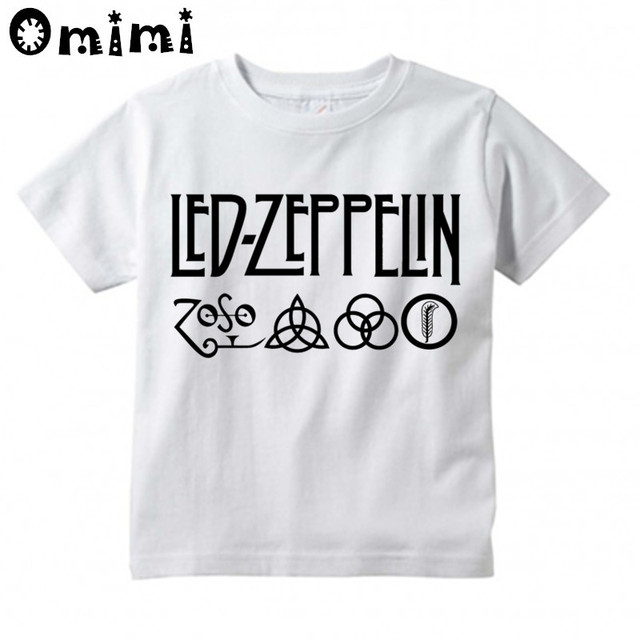 2ddc8002 Children Led Zeppelin Heavy Metal Rock Band Design Tops Boys/Girls Casual T  Shirt Kids Cool White T-Shirt