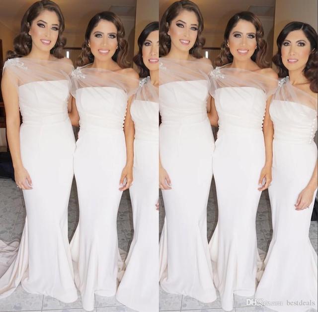 336ed5f7f2 2017 Elegant White Mermaid Bridesmaid Dresses With Pleats Satin Strapless Sweep  Train Wedding Party Dersses Cheap B41