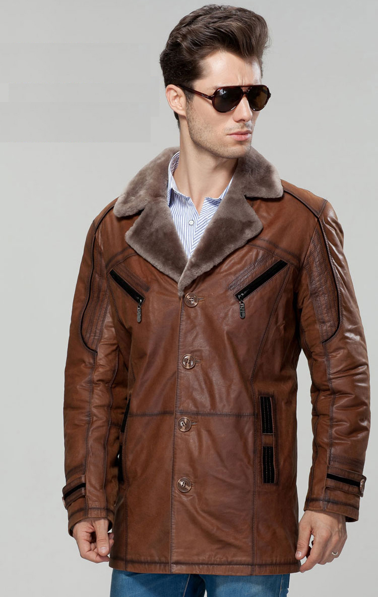 New 2017 Men's Luxury Genuine Real Cowhide Leather Sheep Wool Lined Turn-down Collar Medium-long Thick Warm Jackets Brown XL XXL