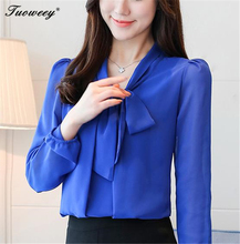 2018 new bow neck women's clothing spring autumn long-sleeved chiffon women blouse shirt solid purple formal women tops blusas