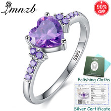 Big Promotion! Silver Ring With Certificate! 925 Solid Silver Ring Heart Purpl Crystal Fashion Rings Jewelry for Women ZSR988(China)