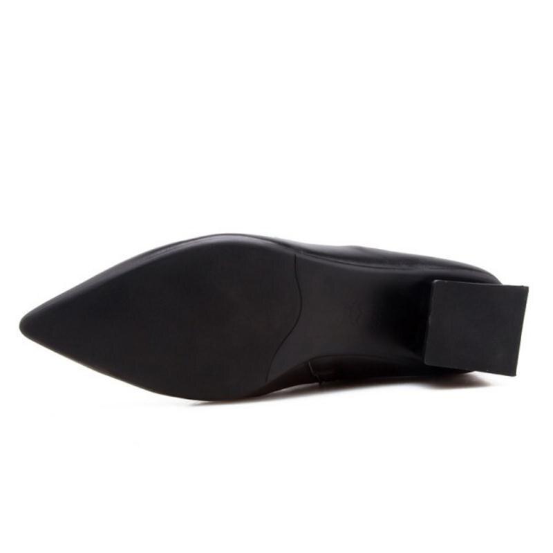 Hiver De Dames Cheville Femmes À Pointu Cuir Chaussures En 39 34 Femme Kemekiss Taille Noir ivoire Bottes Talons Hauts Luxe Bout Véritable Sexy fgWSWpn