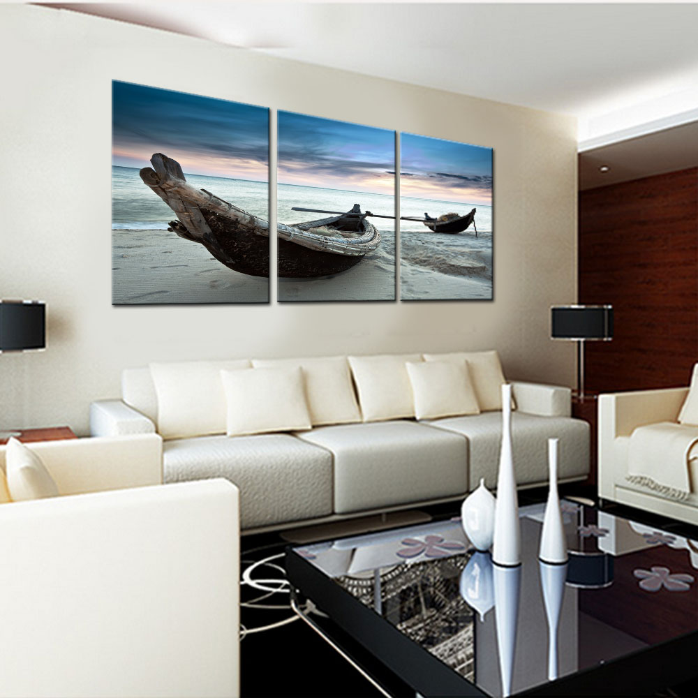 Paintings For Living Room Wall Cheap Design Ideas 3 Panel Frameless Boat Canvas Painting Sailboat Art Posters And Prints Modern Home Decoration
