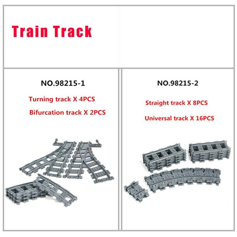 En Stock de la ciudad de carril recto curva Universal curva de la pista para el tren de juguete Modelo Compatible LegoINGlys 10219, 10233, 60098, 60052