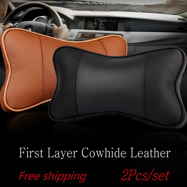 2pcs/set Car Leather Neck Pillow / Auto Seat Cover Head Neck Rest Cushion Headrest Pillow / Seat Cushion Supplies Auto Safety