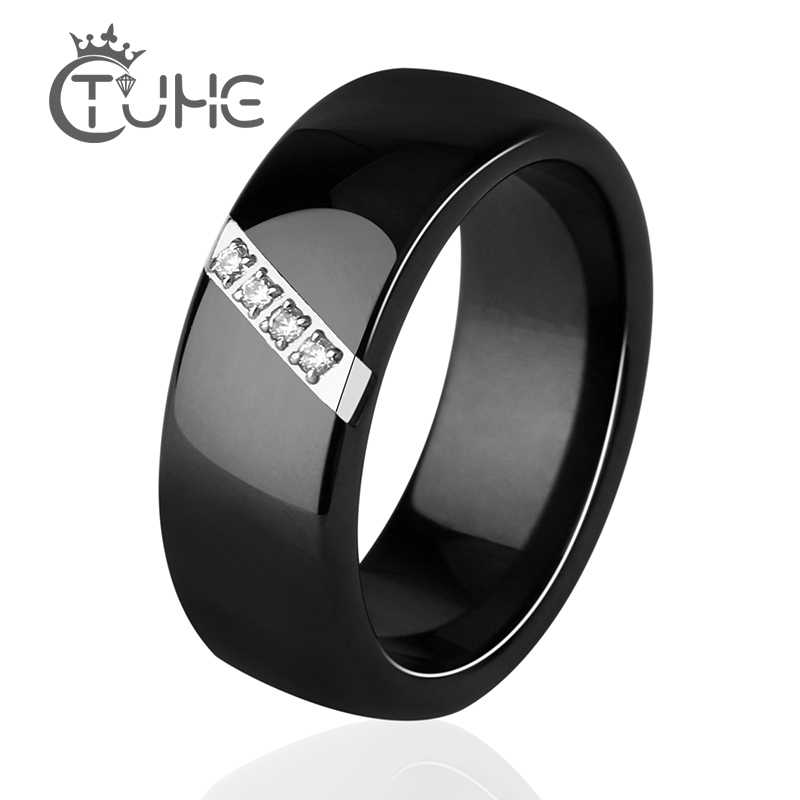 2019 New 6MM 8MM Black White Pink One Slash Crystal Ceramic Ring For Women Engagement Promise Wedding Band Mother Gifts Jewelry
