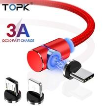 TOPK 3A Магнитный USB кабель 90 градусов Micro USB кабель Быстрая зарядка usb type C кабель для iPhone samsung Xiaomi huawei USB-C
