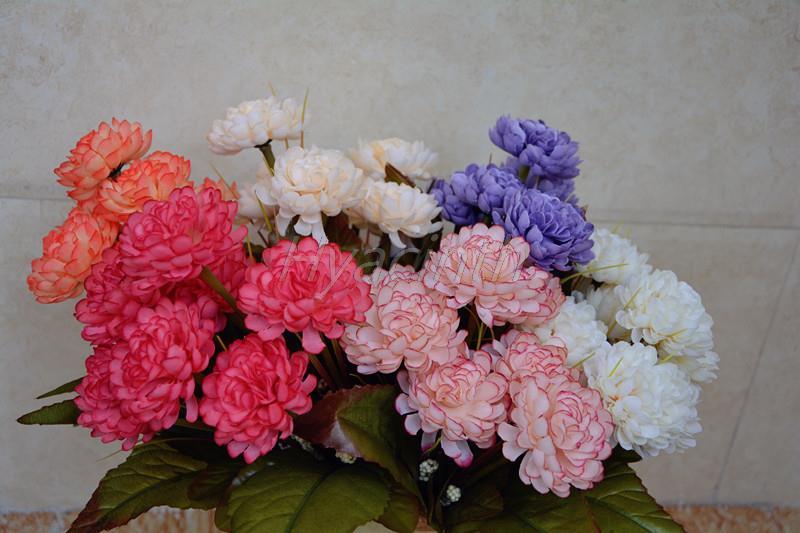 Siete clases de color Ramo de flores de Otoño crisantemo artificial Decorar El H