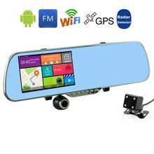 Новый Android 5.0 дюймов Зеркало Заднего вида Автомобиля DVR Радар-Детектор Навигация GPS Автомобиля Камера с Двумя Объективами 1080 P Даш Cam Video Recorder