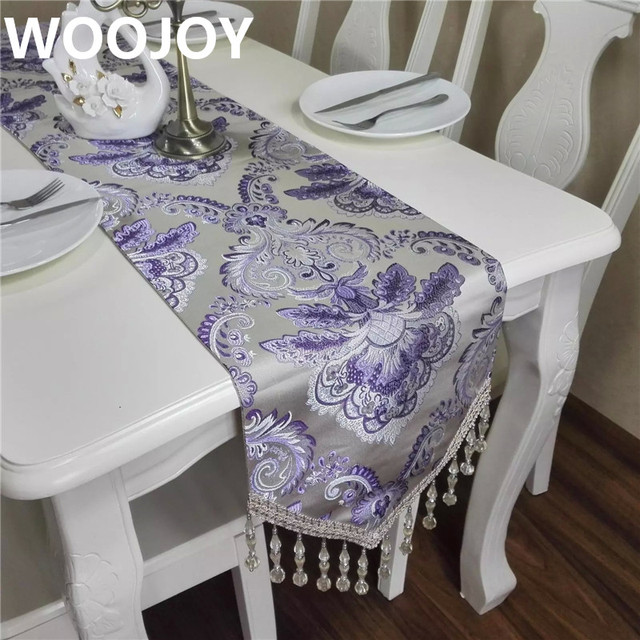 High Quality European Style Purple Embroidery Table Runner Home Decoration  Table Decoration Table Cloth