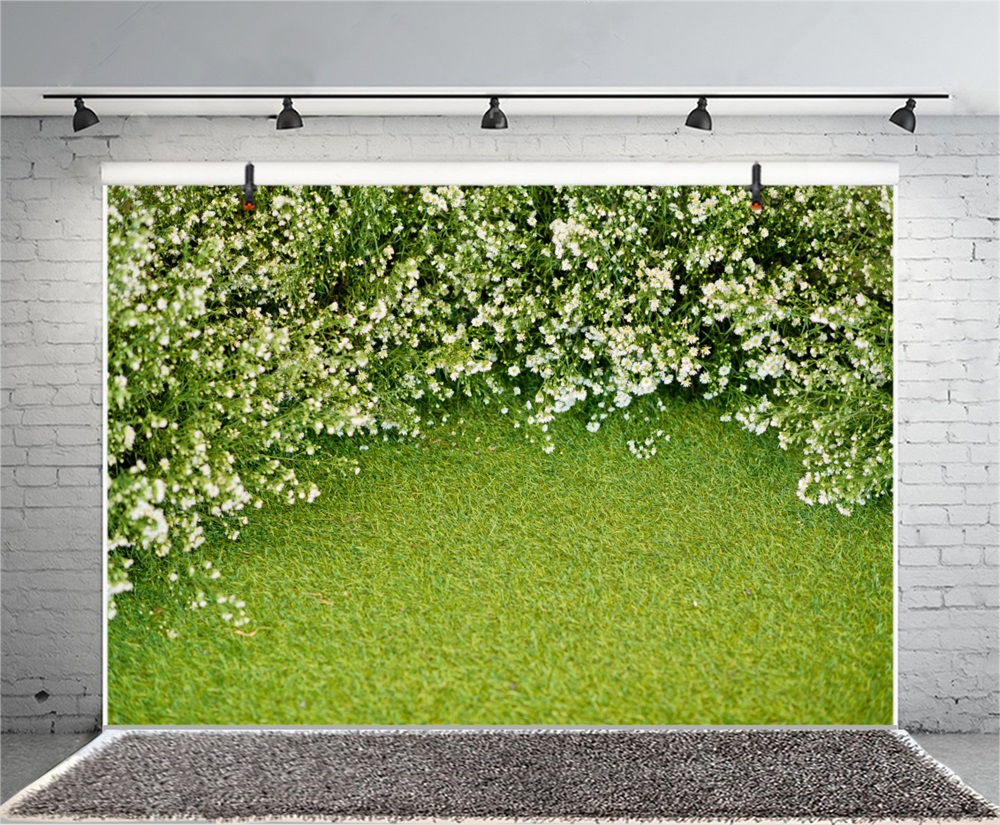 Laeacco Green Blossom Flower Lawn Grass Baby Child Scenic Photo Backgrounds Customized Photography Backdrops For Photo Studio in Background from Consumer Electronics