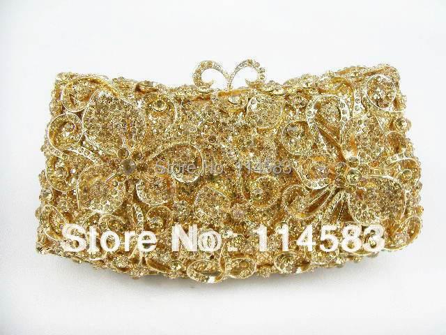 ФОТО 1516 GOLD Crystal Rose Floral Flower Lady fashion Bridal Party hollow Metal Evening purse Handbag clutch bag
