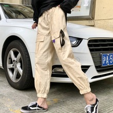 купить Streetwear Cargo Pants Women Casual Joggers Black High Waist Loose Female Trousers Korean Style Ladies Pants Capri дешево