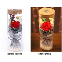 Glowing Preserved Red Rose in a Glass, RGB Preserved Fresh Flower Glowing Colorful with Remote Control For Valentine's Day